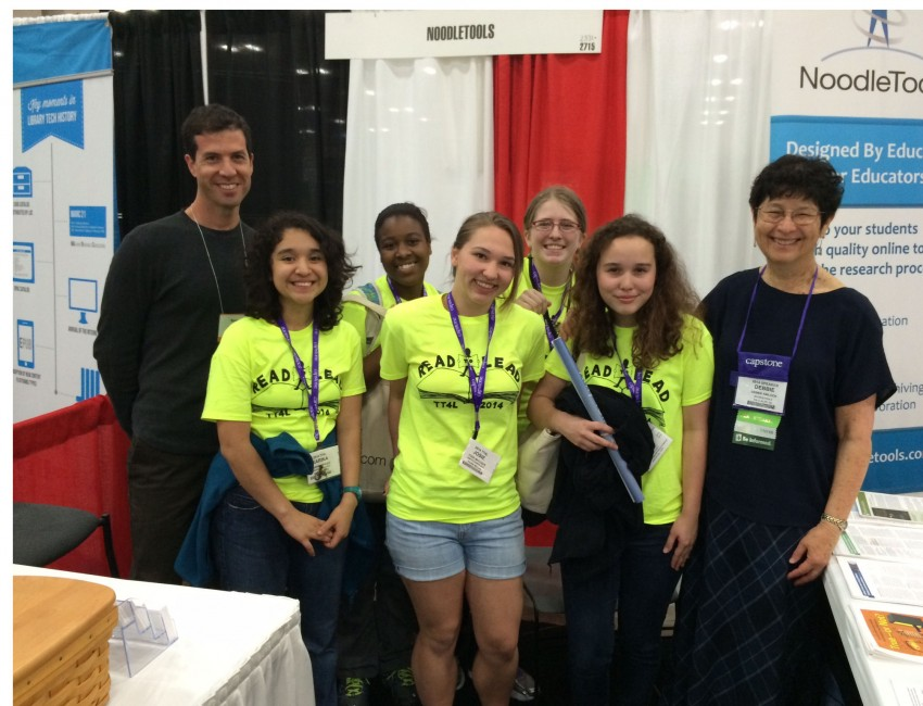 NoodleTools team with students at a conference