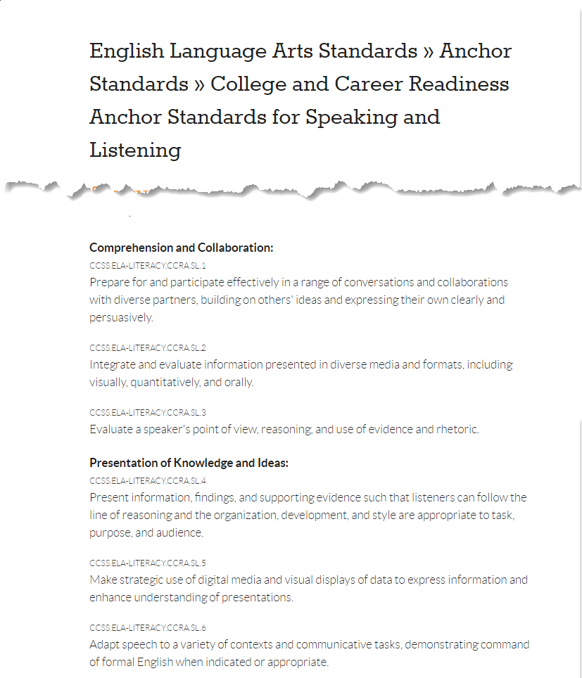 "Snapshot of the Comprehension and Collaboration and Presentation of Knowledge and Ideas sections of the <a href=""http://www.corestandards.org/ELA-Literacy/CCRA/SL/"" rel=""noopener"" target=""_blank"">Common Core Anchor Standards for Speaking and Listening</a>"