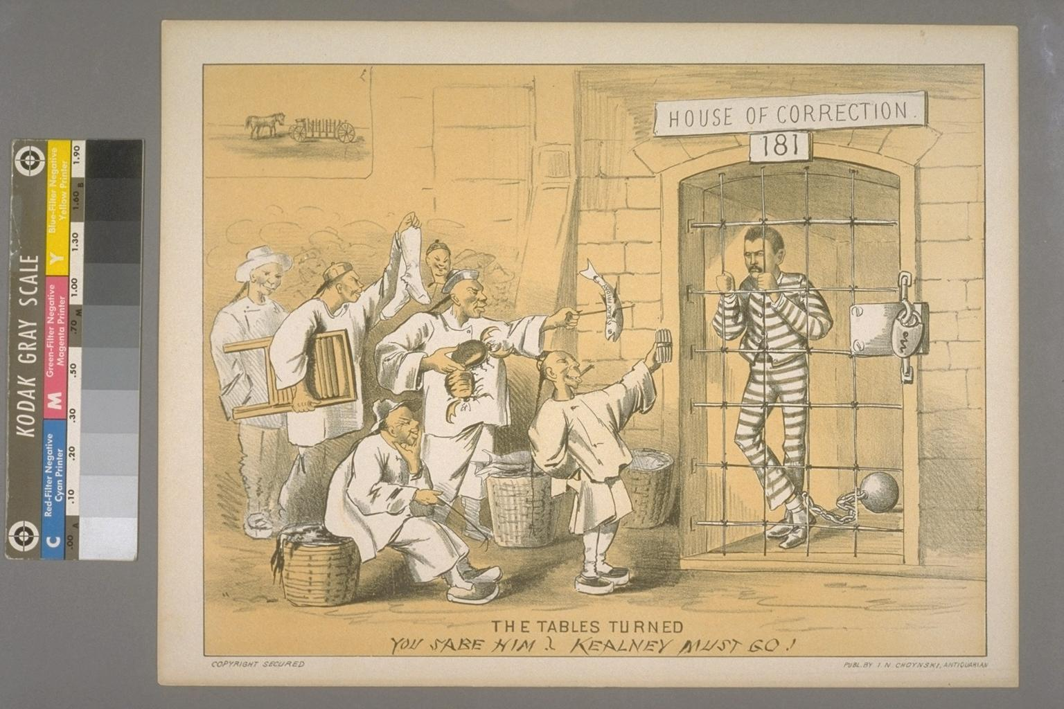 A political cartoon that shows the antagonism between workers and Chinese laborers over jobs.