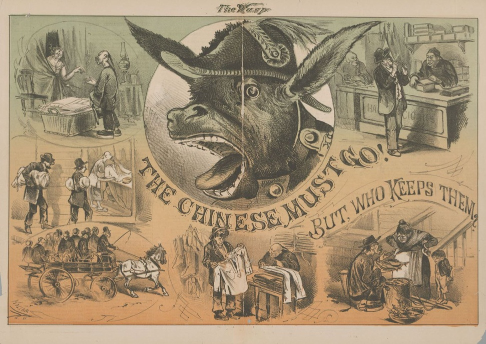 A political cartoon that conflicting views of Chinese immigrants.