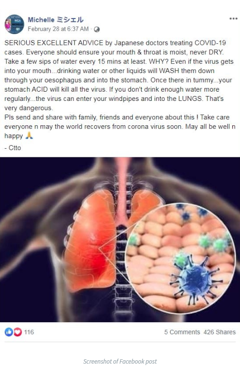 Facebook post on COVID-19 home remedy